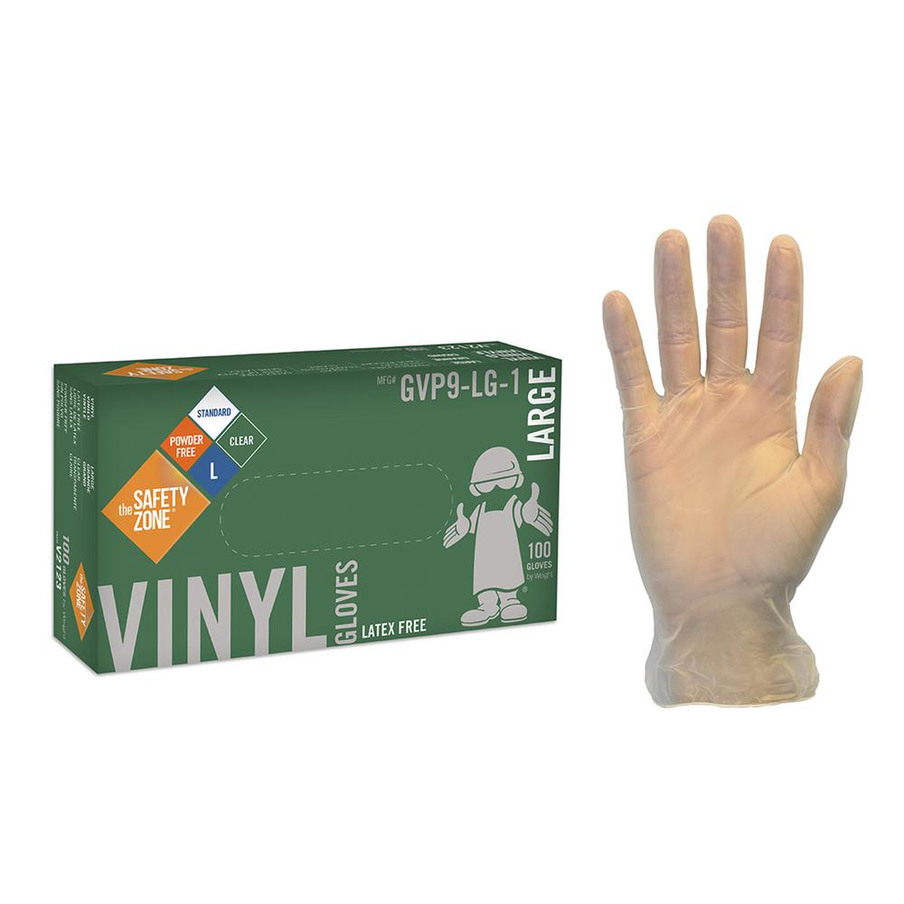 The Safety Zone Large Clear Vinyl Glove Powder Free Bulk