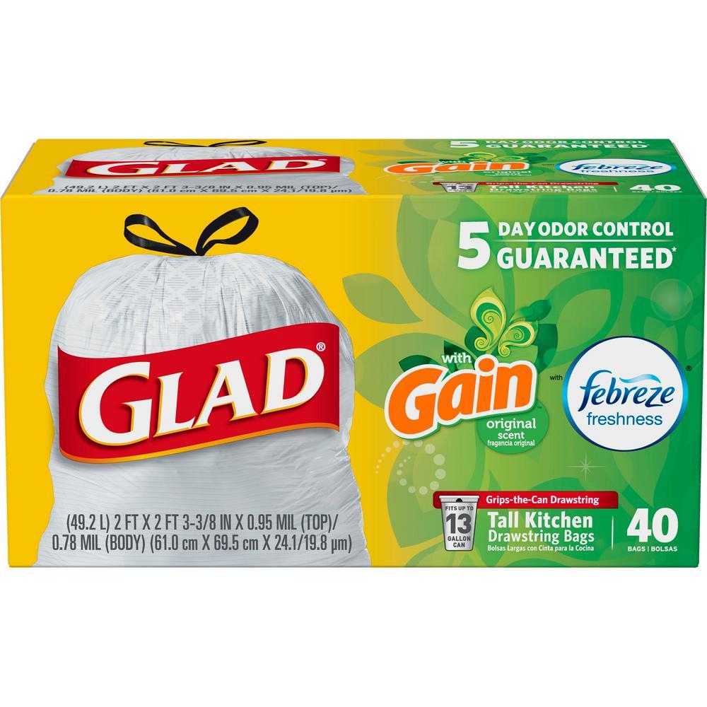 13 Gal. Tall Kitchen Drawstring Odor Shield Trash Bags (40-Count)