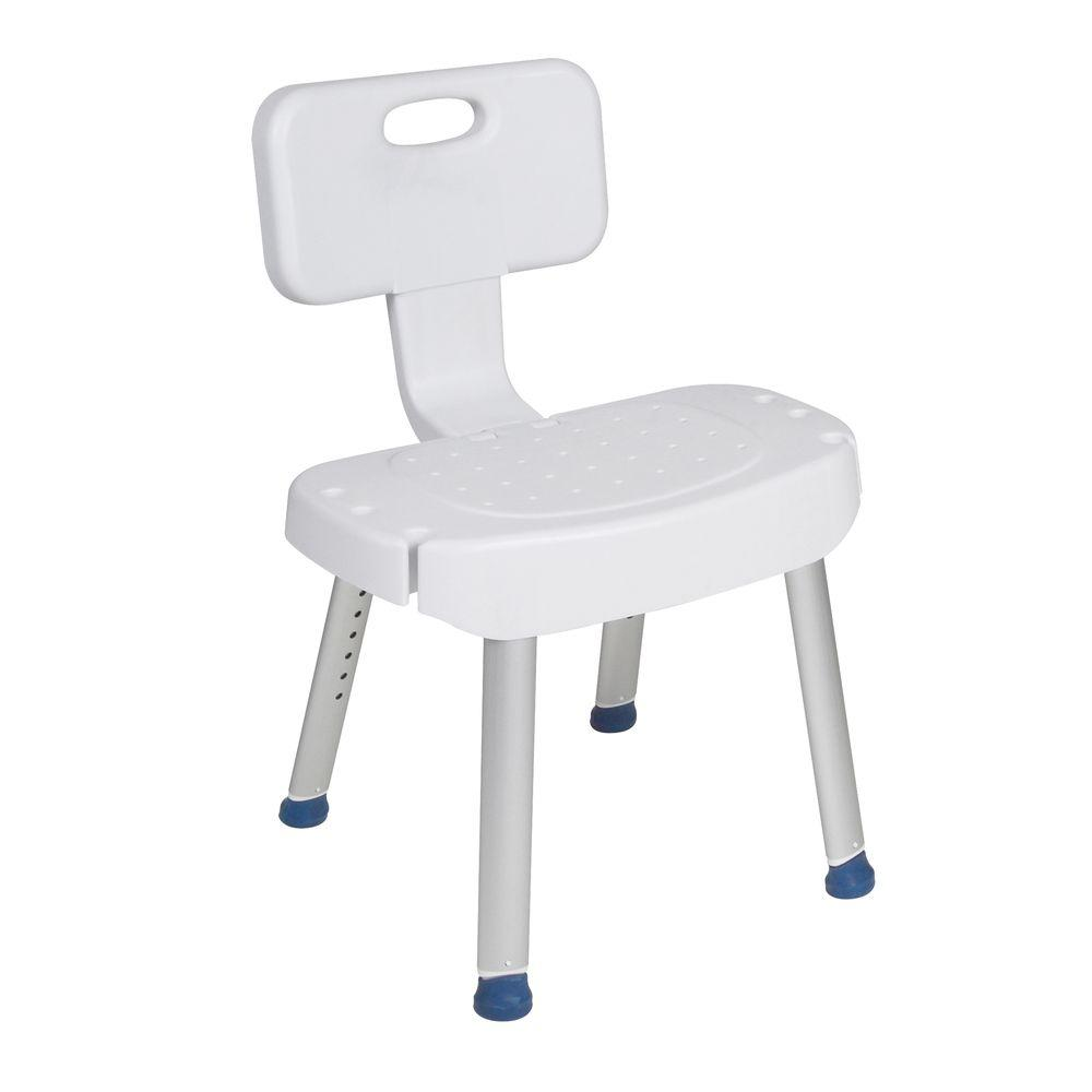 Drive Bathroom Safety Shower Chair with Folding Back, White