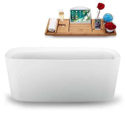 59 in. Acrylic Flatbottom Non-Whirlpool Bathtub in Glossy White