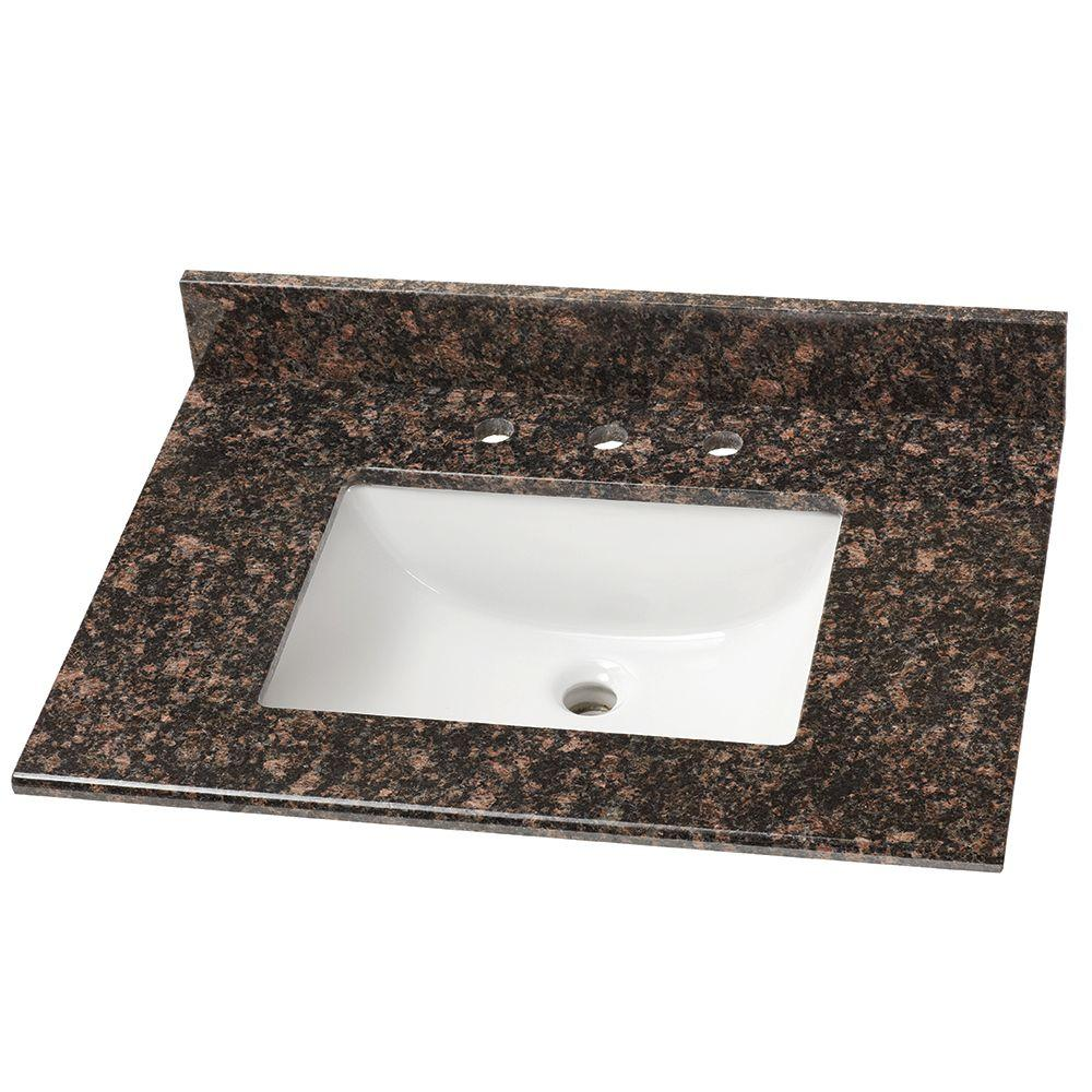 31 in. Stone Effects Vanity Top in Tan Brown with White