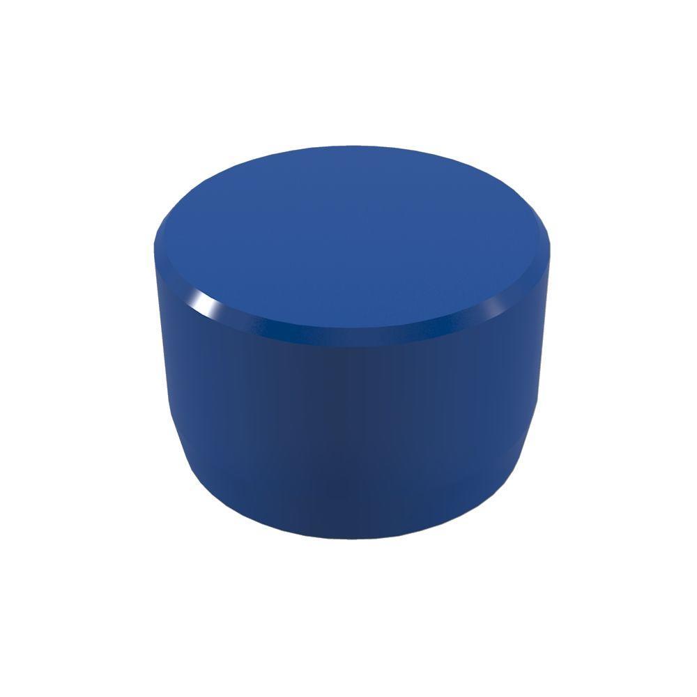 1 in. Furniture Grade PVC External Flat End Cap in Blue