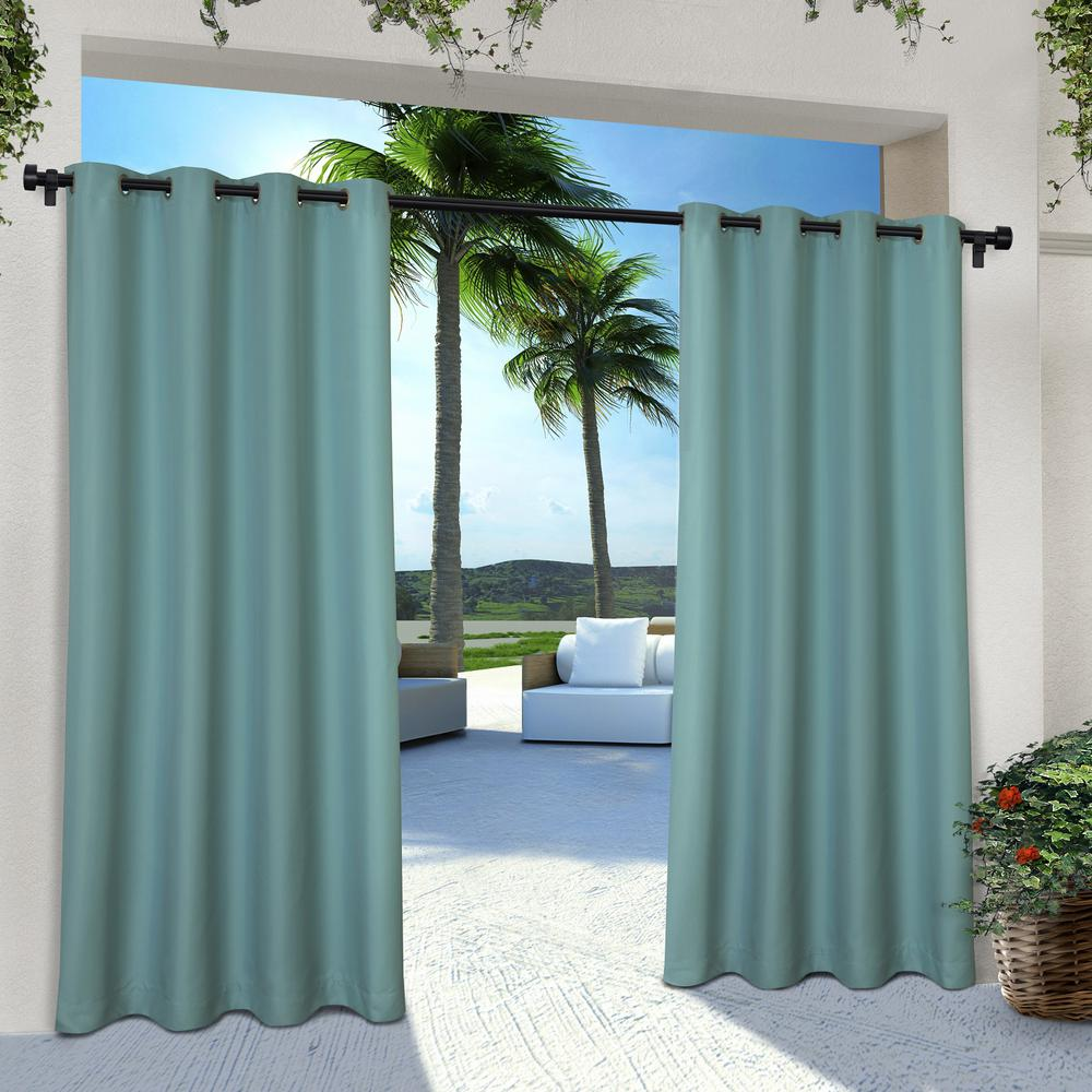 Indoor Outdoor Solid 54 in. W x 84 in. L Grommet Top Curtain Panel in Teal (2 Panels)