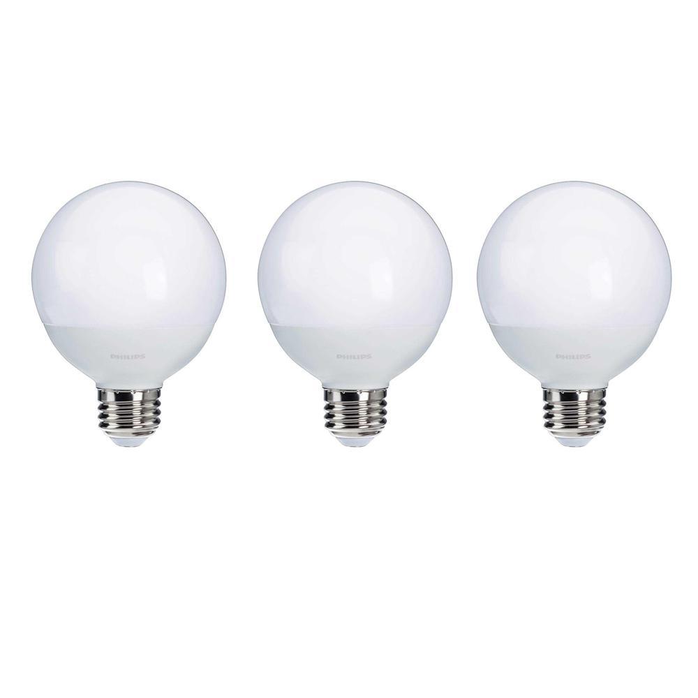 Philips 60-Watt Equivalent G25 LED Light Bulb Soft White Frosted Globe Energy Star (3-Pack)