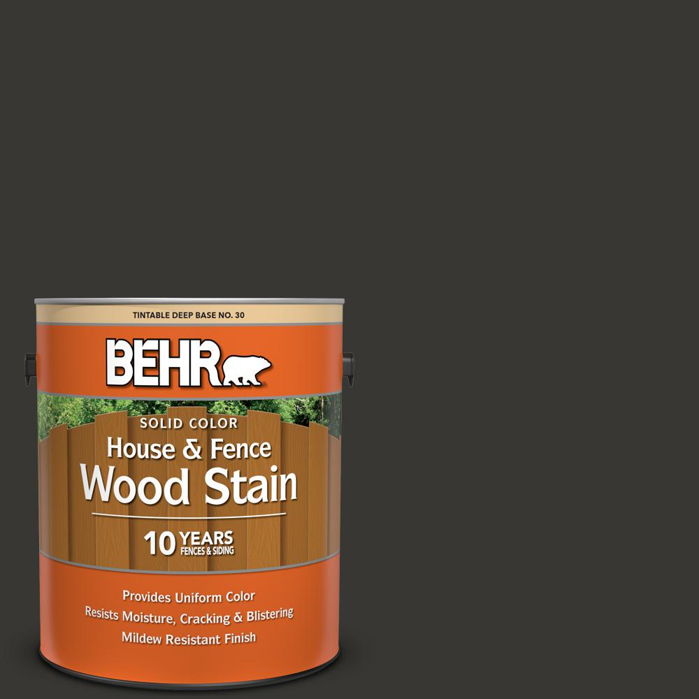 Behr 1 Gal Black Solid Color House And Fence Exterior Wood Stain 03001 The Home Depot