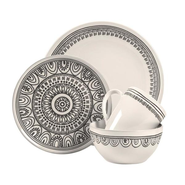 Tribal 16-Piece Casual White Porcelain Dinnerware Set (Service for 4)
