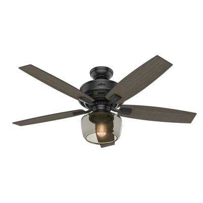 Bennett 52 in. LED Indoor Matte Black Ceiling Fan with Globe Light Kit and Handheld Remote Control