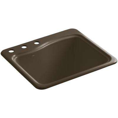 River Falls 25 in. x 22 in. x 14.938 in. Cast Iron 3-Hole Top-Mount Utility Sink in Suede