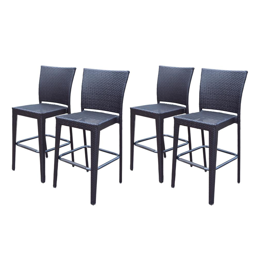 Resin Coffee Wicker Patio Bar Stools (Pack of 2)