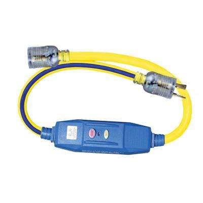 3 ft. 12/3 STW 20 Amp Locking In-Line GFCI - Blue with Yellow Stripe
