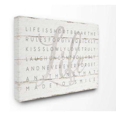 "30 in. x 40 in. ""Life Is Short Smile Grey on White Planked Look"" by Jennifer Pugh Canvas Wall Art"