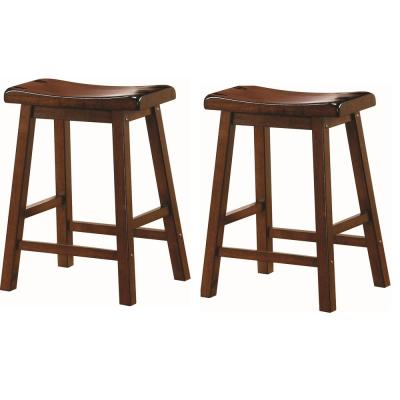Wooden 24 in. Counter Stools Chestnut (Set of 2)