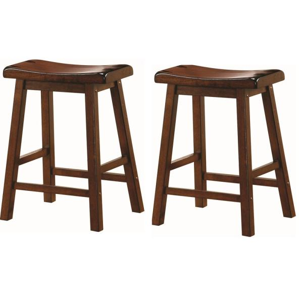 Coaster Wooden 24 in. Counter Stools Chestnut (Set of 2) 180069