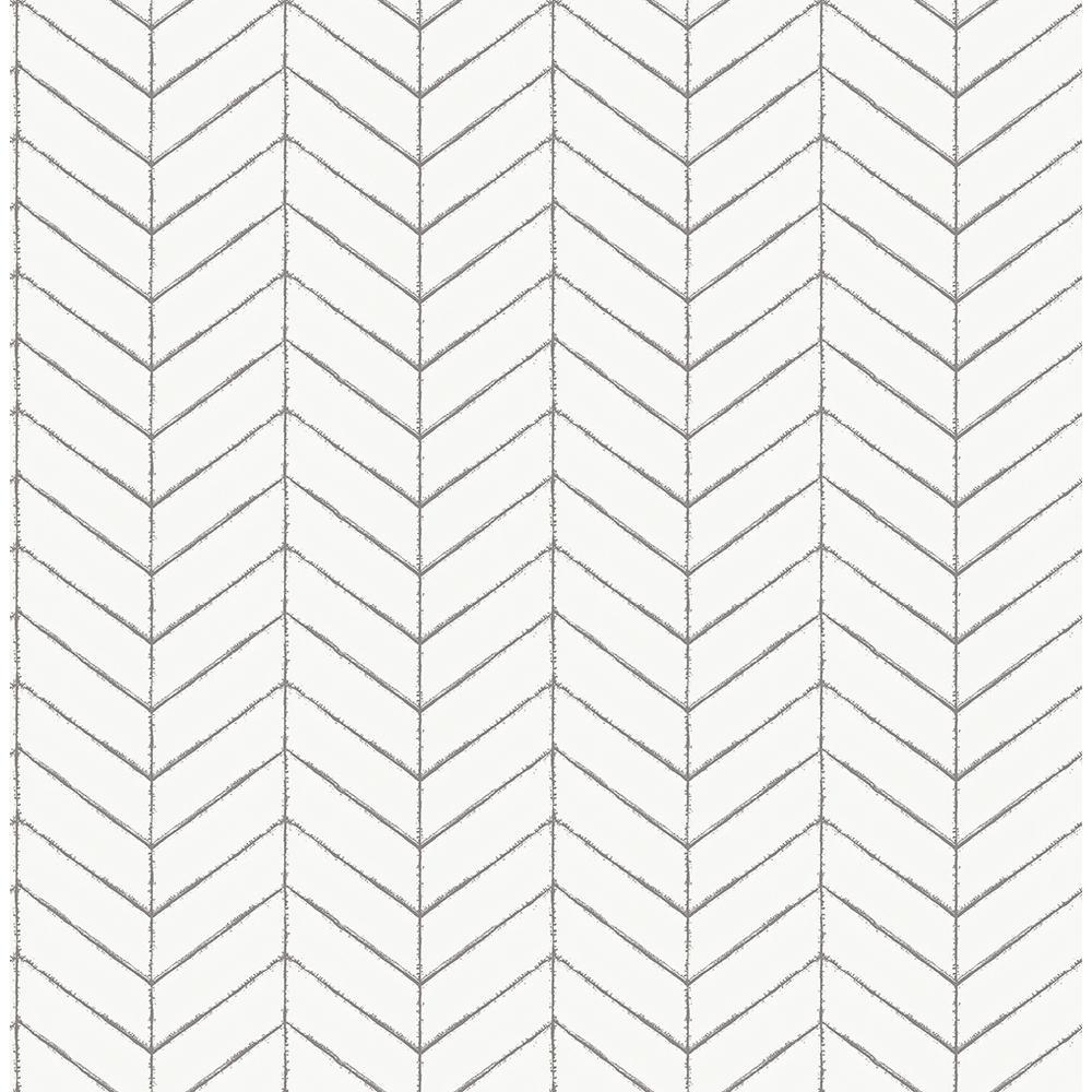 56.4 sq. ft. Bison Taupe Herringbone Wallpaper