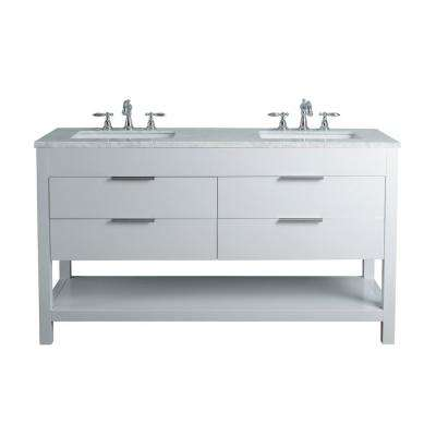 Rochester 60 in. White Double Sink Bathroom Vanity with Marble Vanity Top and White Basin