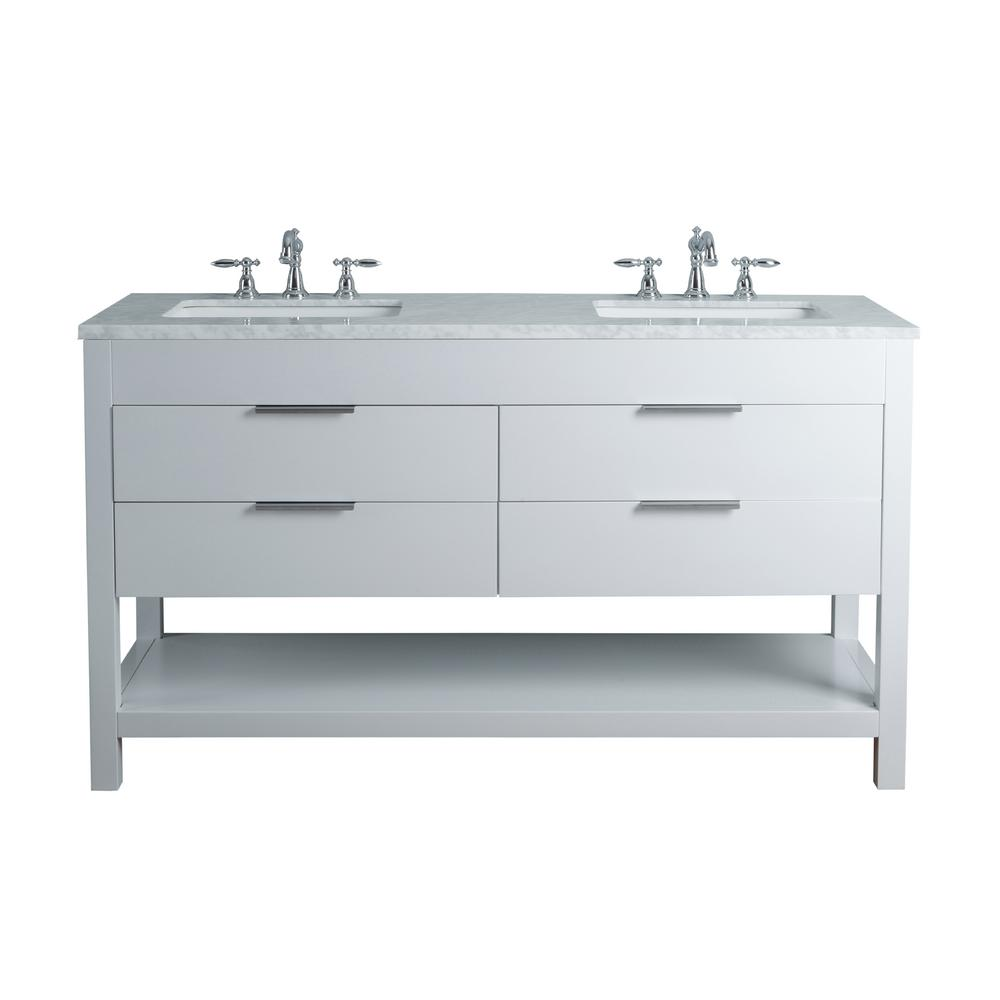 Stufurhome rochester 60 in white double sink bathroom vanity with marble vanity top and white for 60 double bowl bathroom vanity