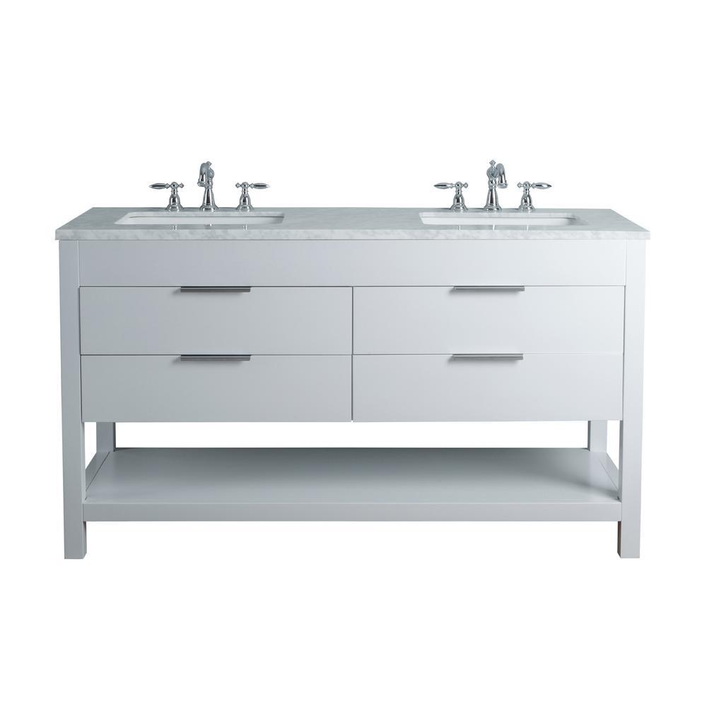 White Double Sink Vanity Marble Vanity Top White Basin