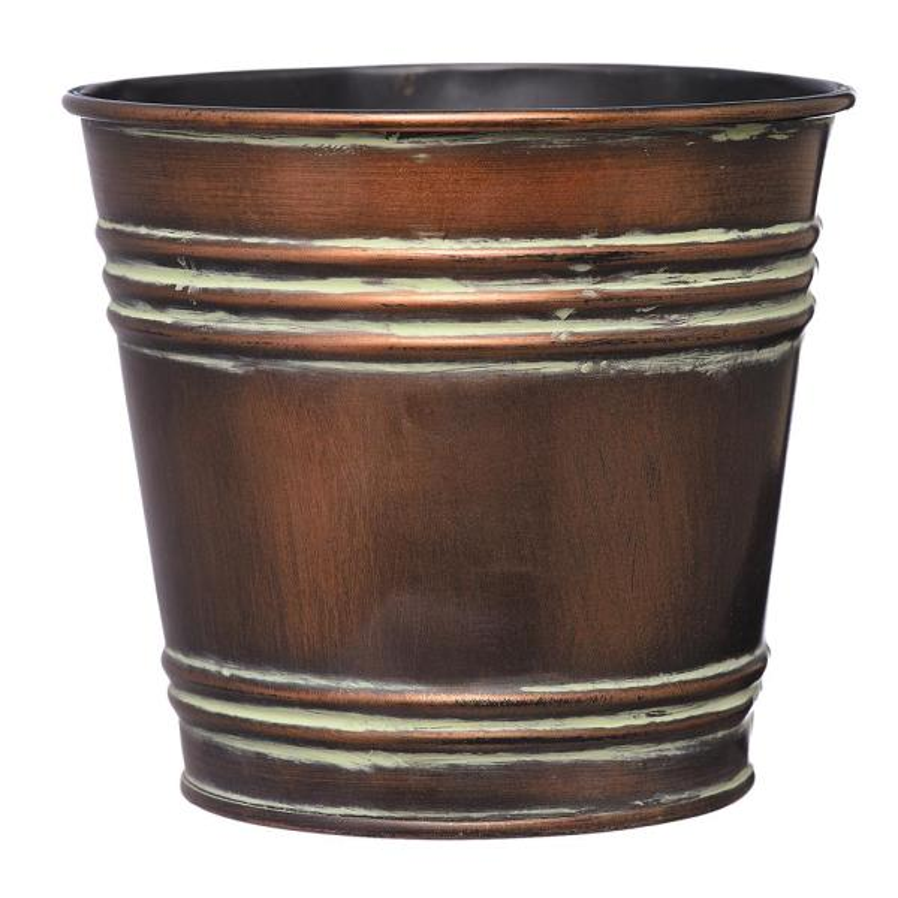 7.5 in. Faux Copper Tin Bucket Planter