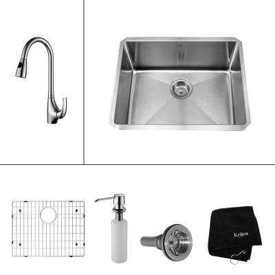 All-in-One Undermount Stainless Steel 23 in. Single Bowl Kitchen Sink with Faucet and Accessories in Chrome