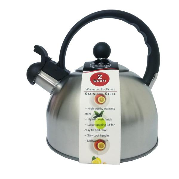 Culinary Edge 8 Cup Stainless Steel 20 Qt Whistling Tea Kettle In