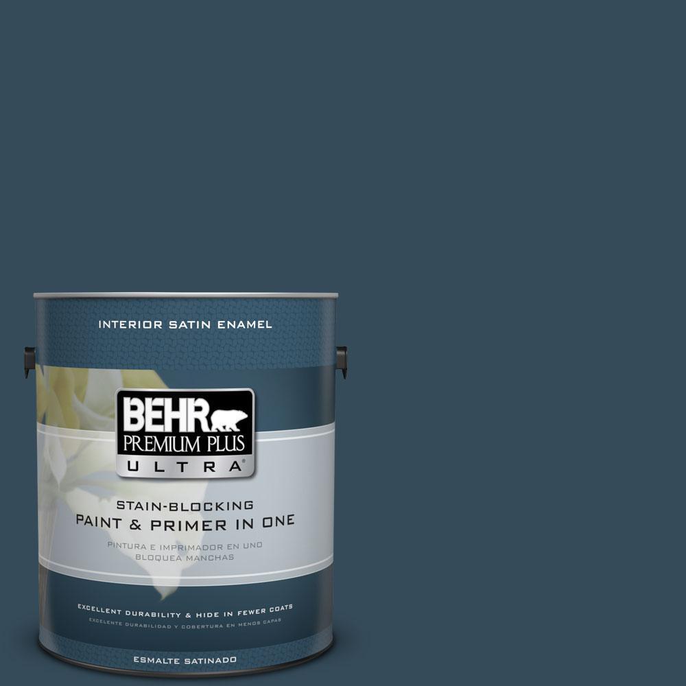 BEHR Premium Plus Ultra Home Decorators Collection 1-gal. #HDC-CL-28 Nocturne Blue Satin Enamel Interior Paint