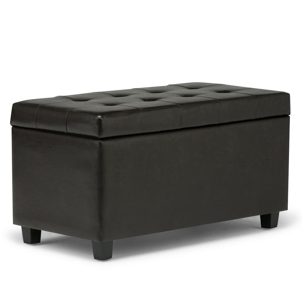 Simpli Home Cosmopolitan Tanners Brown Medium Storage Ottoman Bench