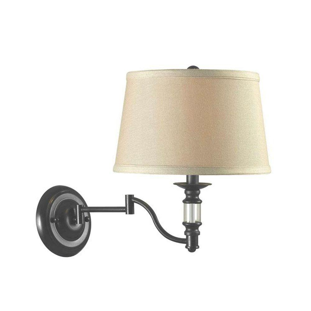 Home Decorators Collection East Hampton 13.75 in. Bronze and Copper Swing Arm Lamp