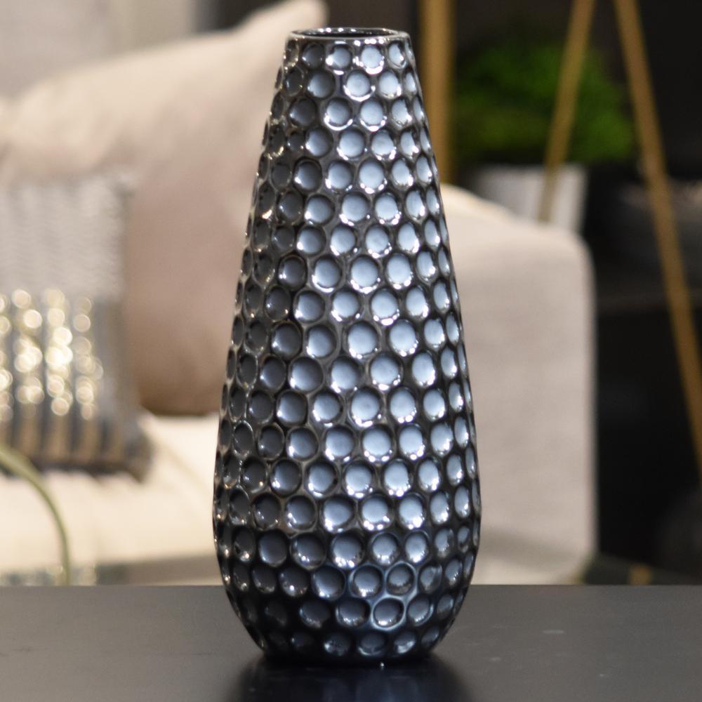 Silver Polished Chrome Finish Ceramic Decorative Vase