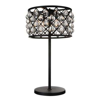 Renous 32 in. Black Table Lamp with Clear Crystals