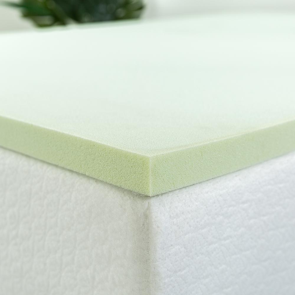 Zinus 1 5 In Green Tea Square Queen Short Memory Foam