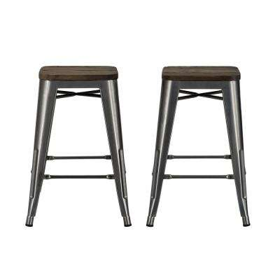 Penelope 24 in. Antique Gun Metal, Metal Counter Stool with Wood Seat (Set of 2)