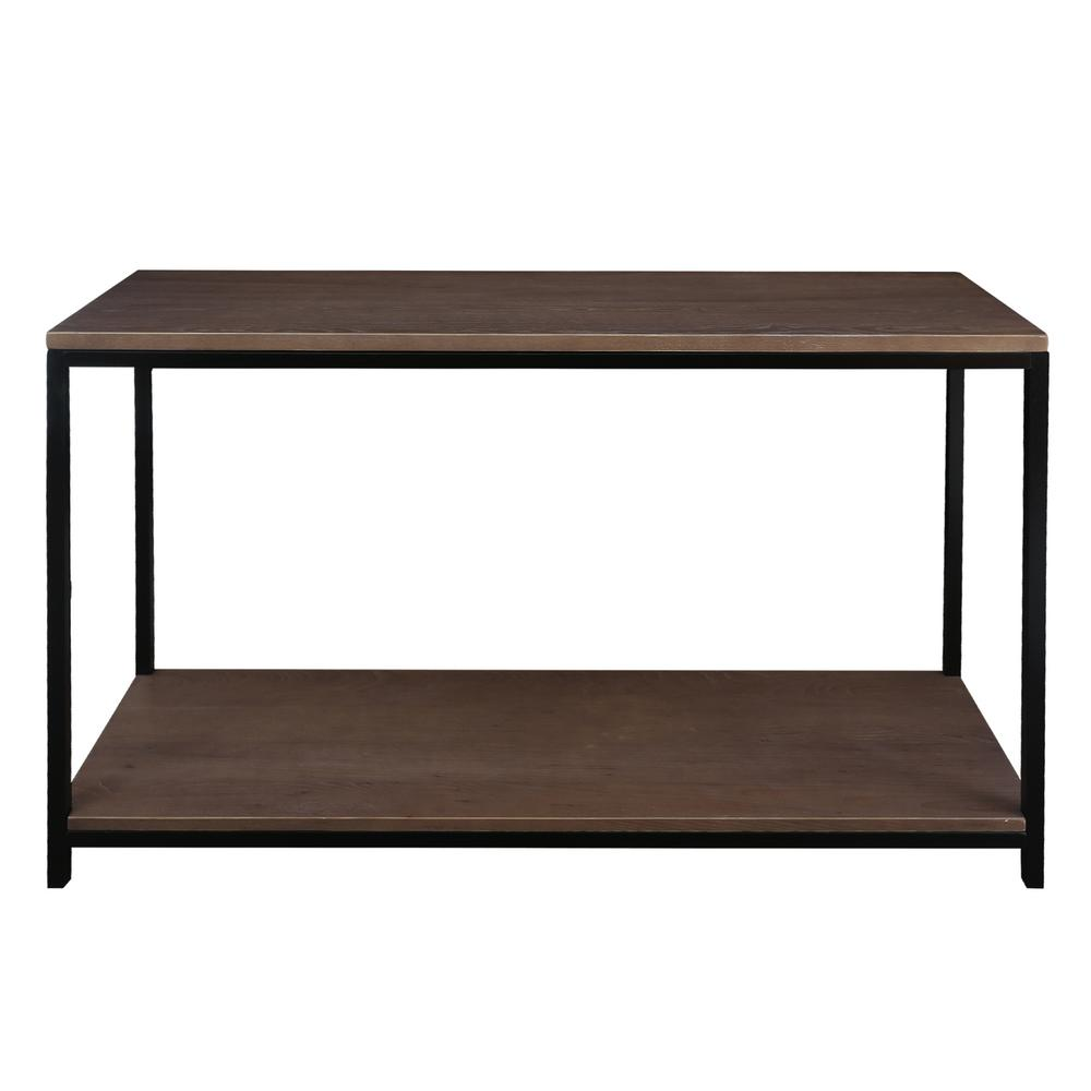 Studio Gray Washed Solid Red Oak Top and Shelf Console Table