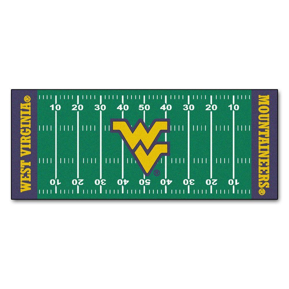 West Virginia University 3 ft. x 6 ft. Football Field Rug Runner Rug