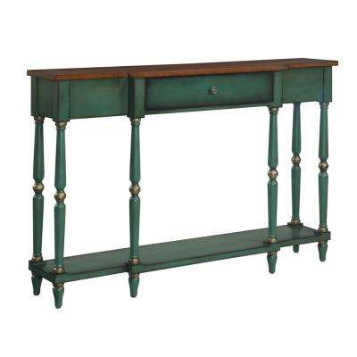 Wyoming Oak and Green Two Tone Antique Console Table