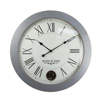 Sleek and Smooth Distressed Silver Grey Oversized Wall Clock
