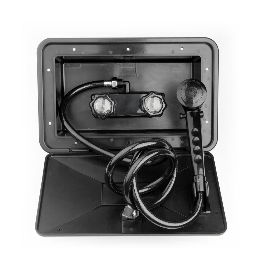 2-Handle RV Exterior Shower Box Kit in Black