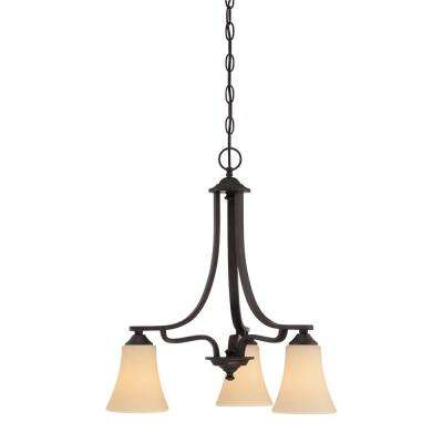 Treme 3-Light Espresso Chandelier With Champagne Glass Shades