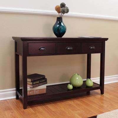 Lindendale 3-Drawer Espresso Console Table