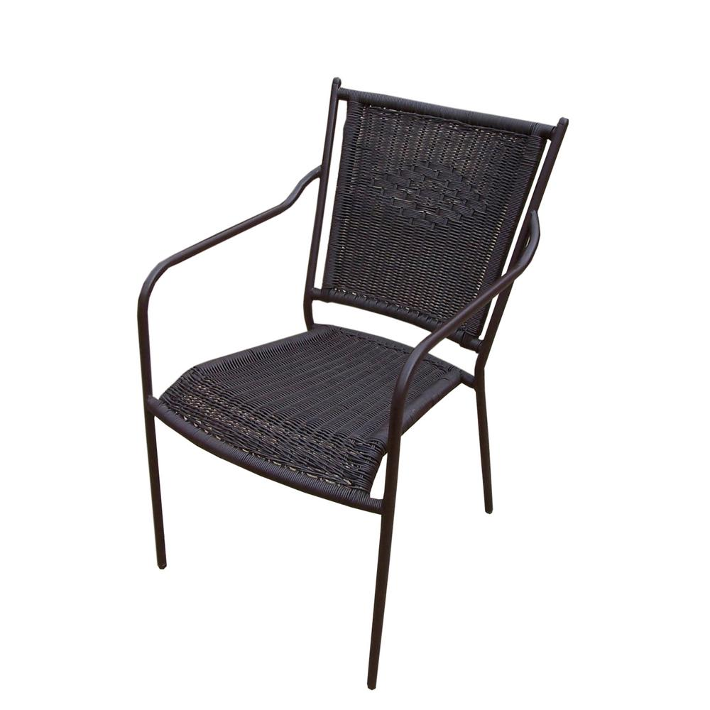 Coffee Wicker Outdoor Dining Chair (4-Pack)