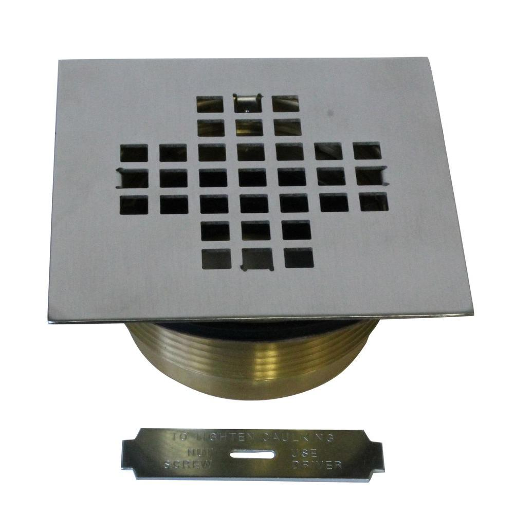 2 in. Brass Shower Drain with 4-1/4 in. Square Cover in