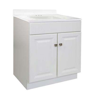 31 in. x 22 in. x 35.5 in. Bath Vanity with 4 in. Widespread Camilla Vanity Top in Solid White with White Basin