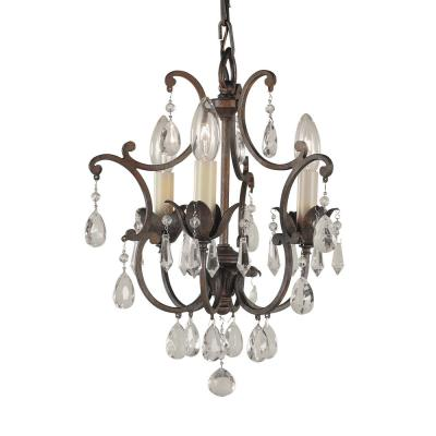Maison De Ville 11 in. W x 14.25 in. H 3-Light British Bronze French Country Mini Chandelier with Crystal Accents