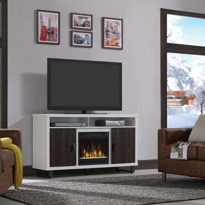 Van Horne 54 in. Media Console Electric Fireplace in White