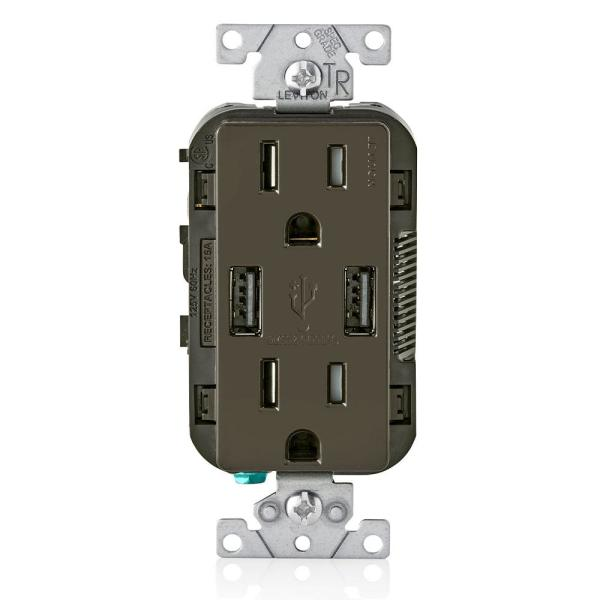 3.6A USB Dual Type A In-Wall Charger with 15 Amp Tamper-Resistant Outlets, Brown
