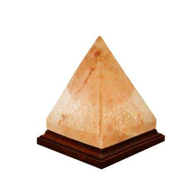 Himalayan Crystal Rock Salt 7 in. Pink Pyramid Shape Lamp with Wood Base Electric Wire and Bulb