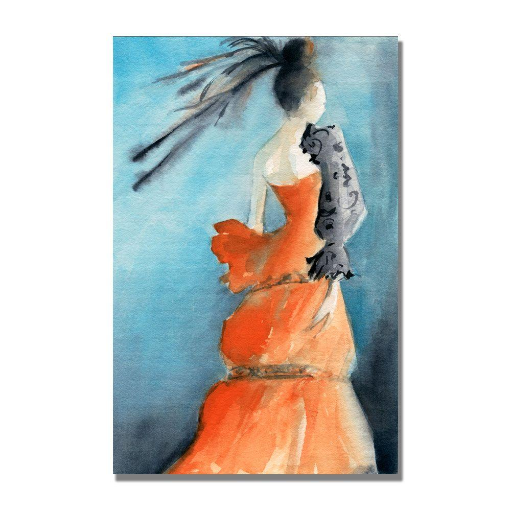 null 16 in. x 24 in. Orange Evening Gown Canvas Art-DISCONTINUED
