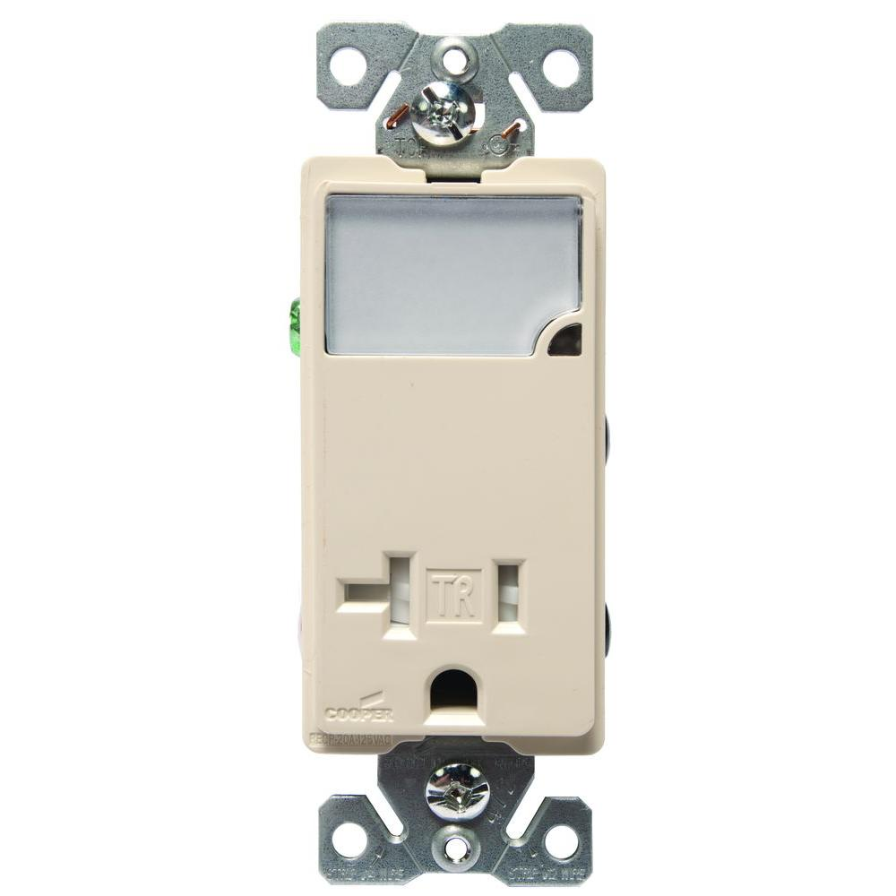 Eaton 3-Wire Receptacle Combo Nightlight with Double-Pole Tamper ...