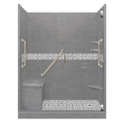 Del Mar Freedom Grand Hinged 34 in. x 60 in. x 80 in. Right Drain Alcove Shower Kit in Wet Cement and Satin Nickel