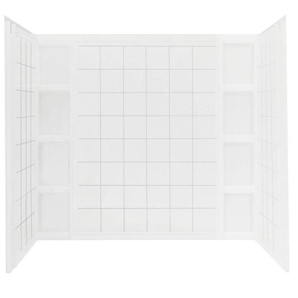 STERLING Ensemble 43-1/2 in. x 60 in. x 54-1/4 in. 3-piece Direct-to-Stud Tile Tub and Shower Wall Set in White