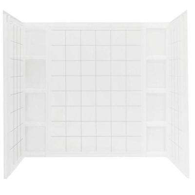 Ensemble 43-1/2 in. x 60 in. x 54-1/4 in. 3-piece Direct-to-Stud Tile Tub and Shower Wall Set in White